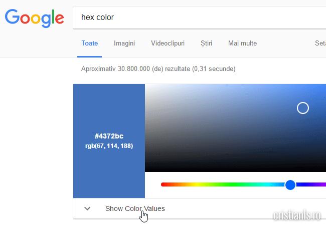 show color values google