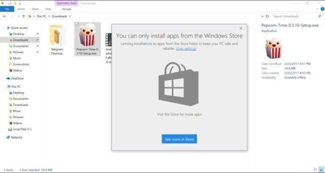 You can only install apps from the Windows Store