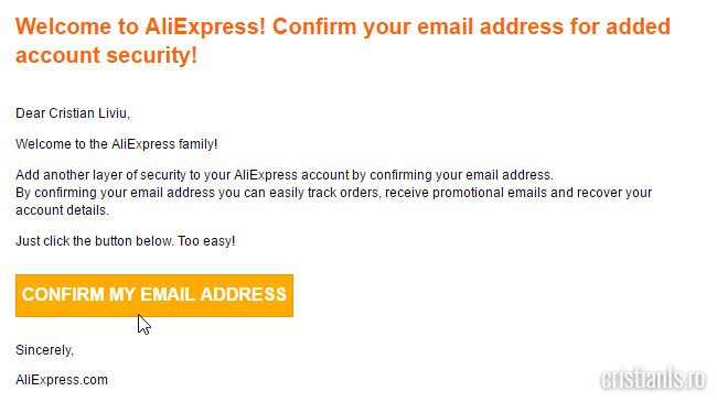 confirmare adresa email aliexpress