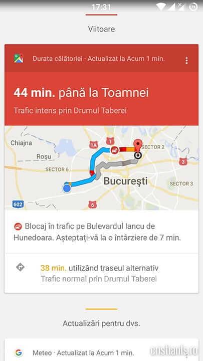 durata călătoriei - google now