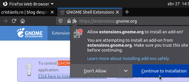continue install gnome extensions addon