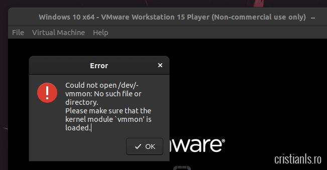 vmware eroare ubuntu