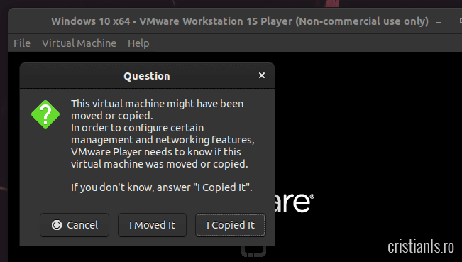 vmware player ok