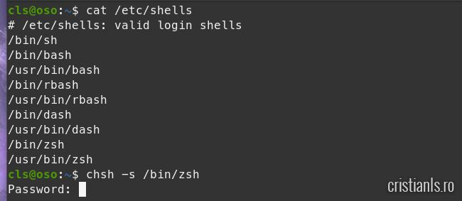 inlocuire bash cu zsh