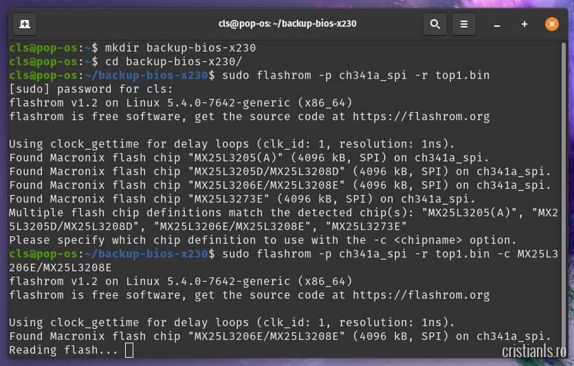 citire cip x230 pentru backup