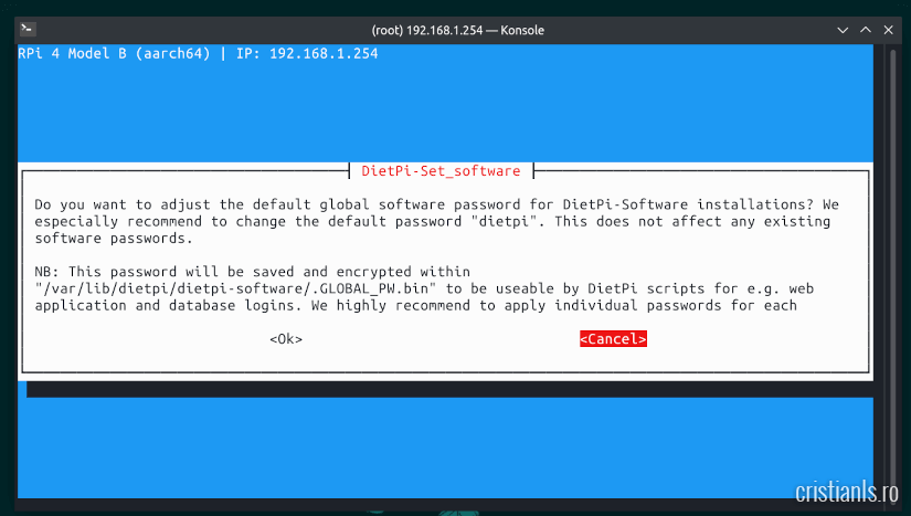 Configurare inițială DietPi în Raspberry Pi 4