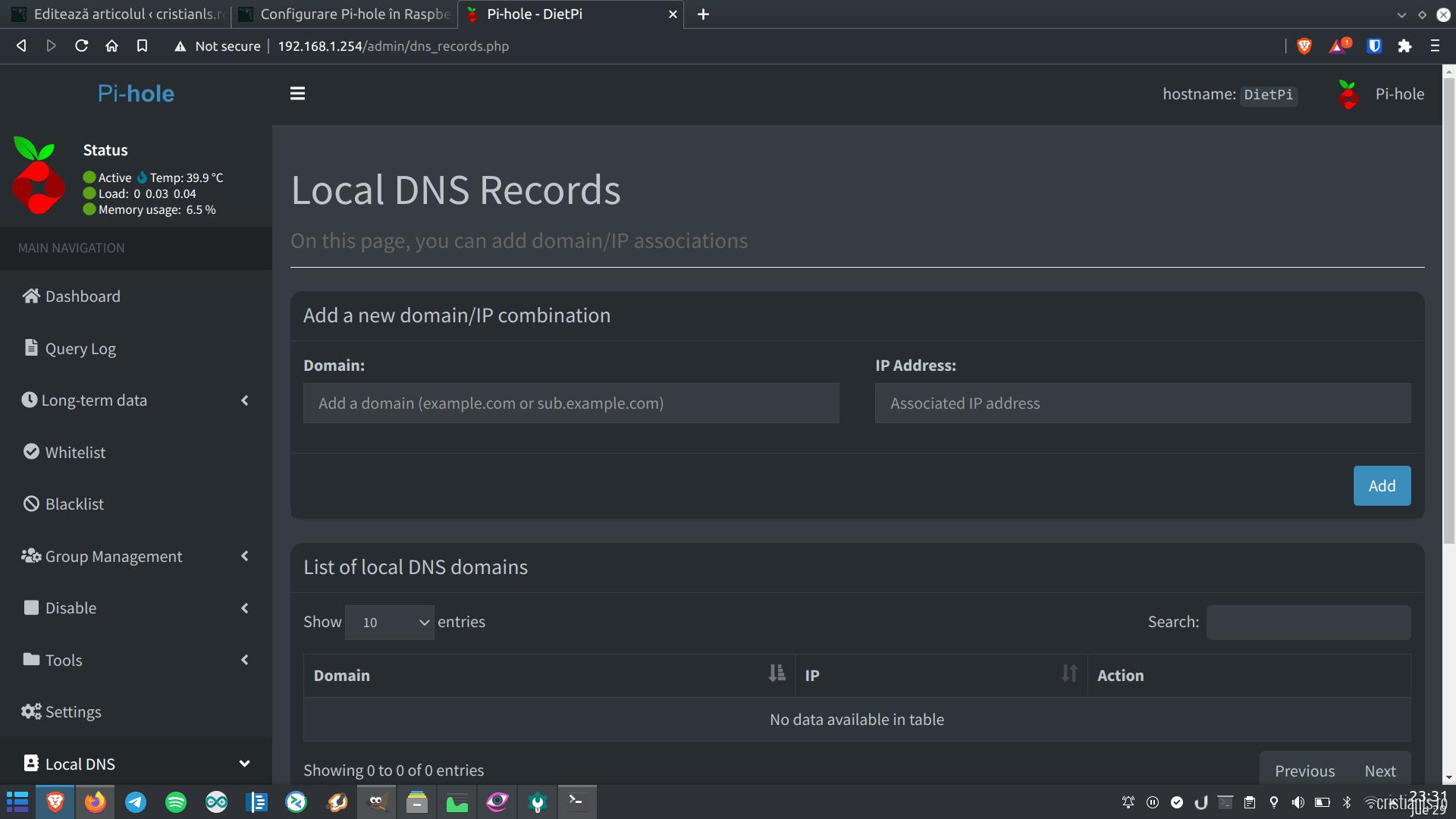 Registrar DNS la nivel de rețea