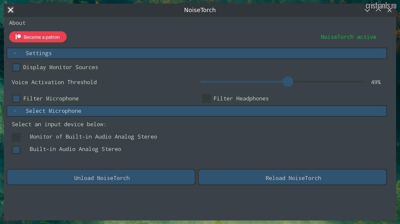 NoiseTorch - Aplicatie pentru anularea zgomotelor în Linux
