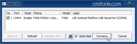 Select Port to update baseband on LG Optimus One P500