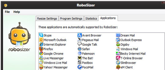 Aplicatii admise de RoboSizer